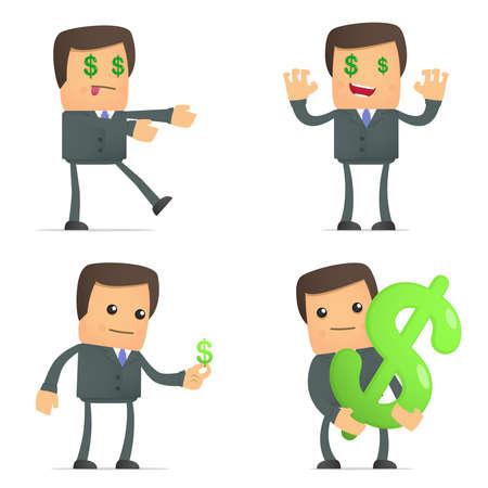 grappige cartoon zakenman houdt van geld