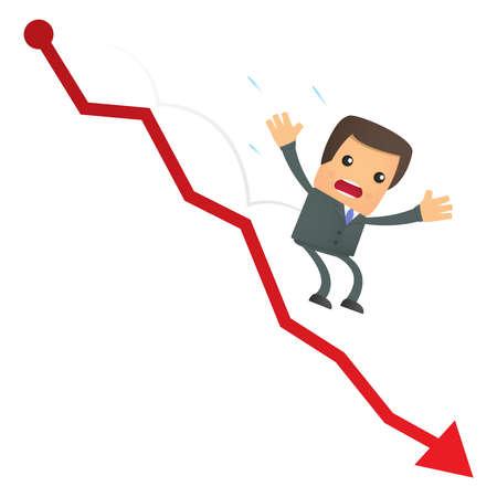 crisis economica: empresario de caricatura divertida cae del gr�fico
