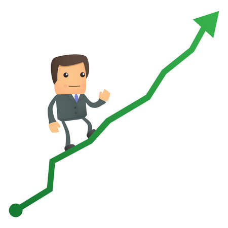 histogram:  cartoon businessman climbing up at the diagram