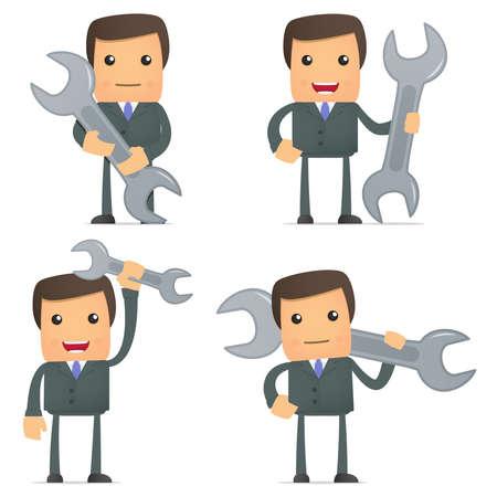 boss cartoon: funny cartoon businessman with a spanner