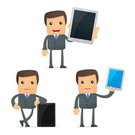 funny cartoon businessman with a laptop Vector