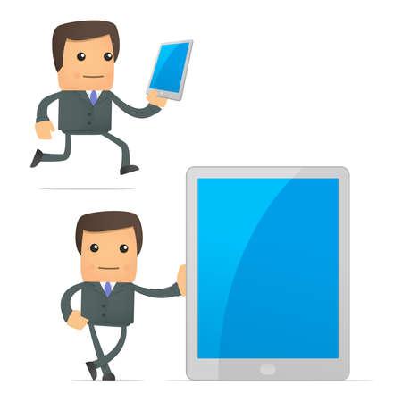 mobil: grappige cartoon zakenman met een laptop