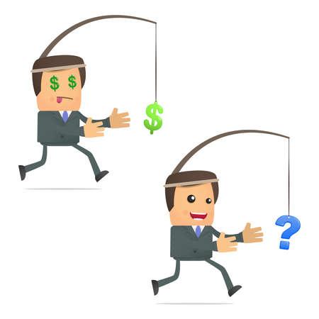 interrogative: funny cartoon businessman running for the dollar