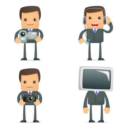operators: funny cartoon businessman and multimedia Illustration