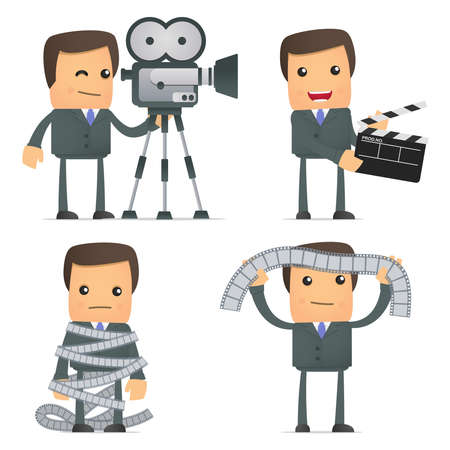 funny cartoon businessman and cinema Vector