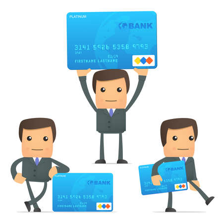 funny cartoon businessman with credit card Vector