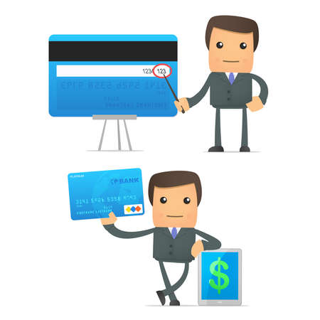 bank manager: empresario de dibujos animados divertidos con tarjeta de cr�dito Vectores