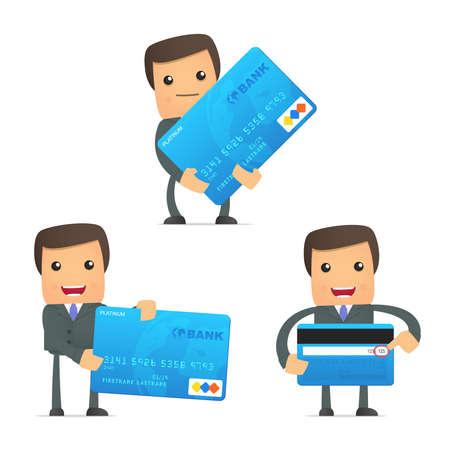 tarjeta visa: empresario de dibujos animados divertidos con tarjeta de crédito Vectores