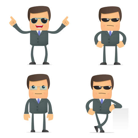 cool man:  funny cartoon businessman in glasses Illustration