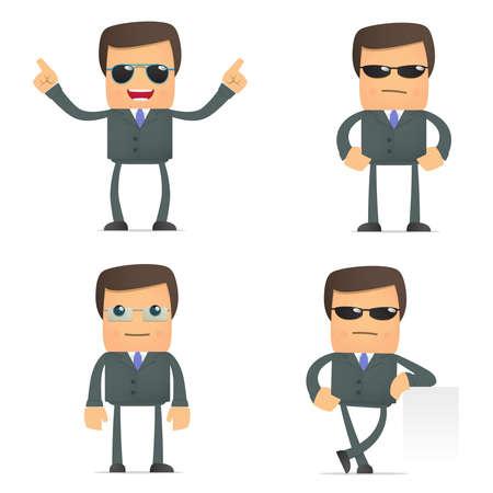 karikatuur:  grappige cartoon zakenman in glazen