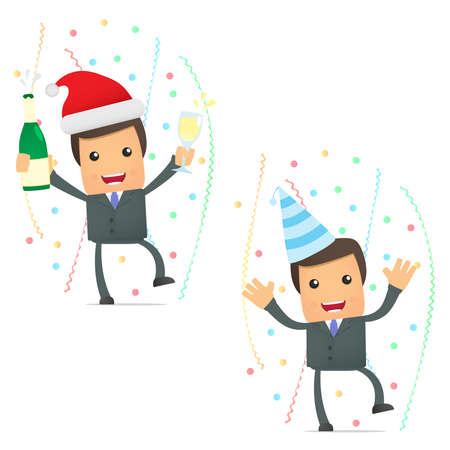 jornada de trabajo: empresario de caricatura divertida celebrando la fiesta