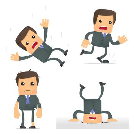injure: funny cartoon businessman in a dangerous situation