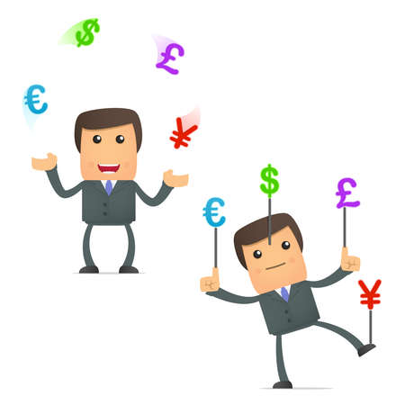 juggle: funny cartoon businessman juggling currency