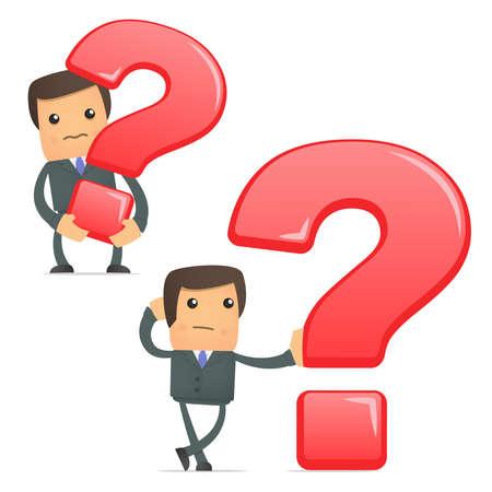 interrogativa: empresario de dibujos animados divertidos con un signo de interrogación