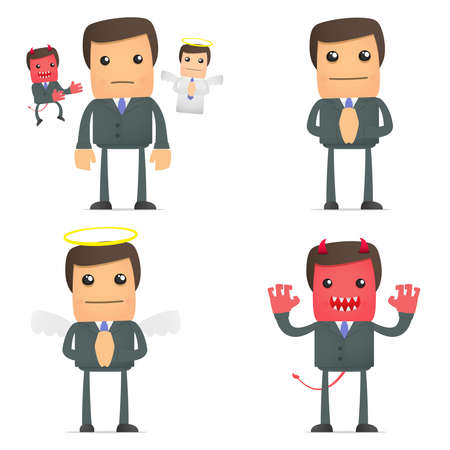 businessman making a choice between good and evil