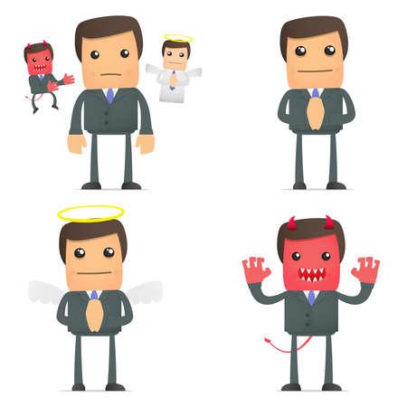 personalit�: uomo d'affari facendo una scelta tra bene e male