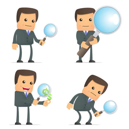 detect: funny cartoon businessman with magnifying glass Illustration