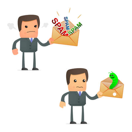 cartoon businessman angry at spam and viruses Vector