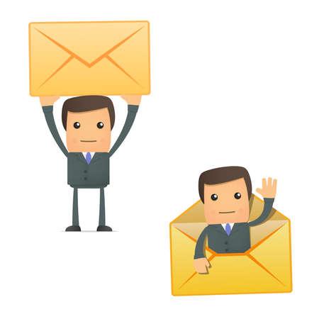 mail man: empresario de dibujos animados divertidos con una carta