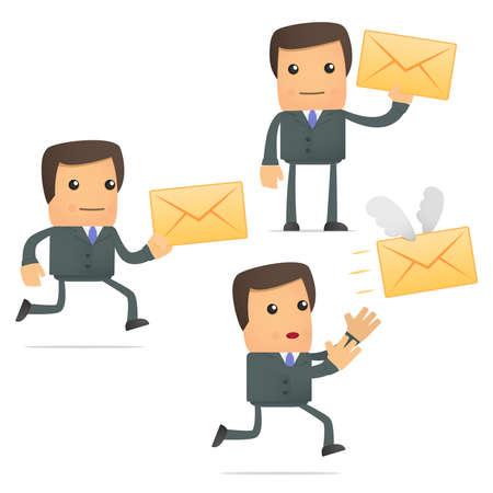 grappige cartoon zakenman met een letter Vector Illustratie