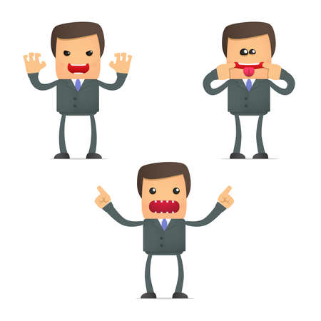 crazy cartoon businessman  Vector