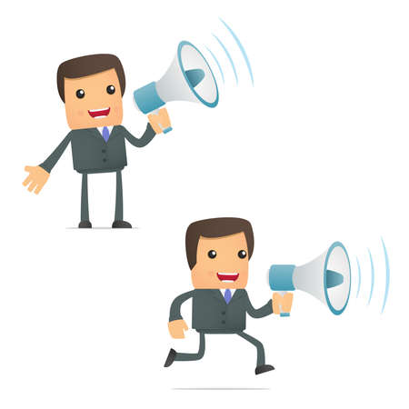 funny cartoon businessman with a megaphone
