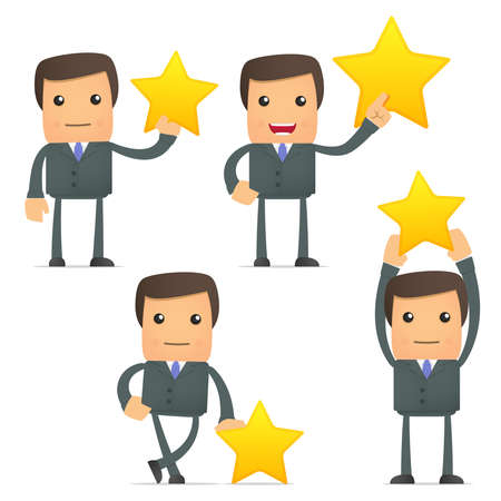 reward: funny cartoon businessman holding a favorite star