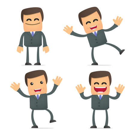 communication cartoon: businessman dancing and jumping from joy