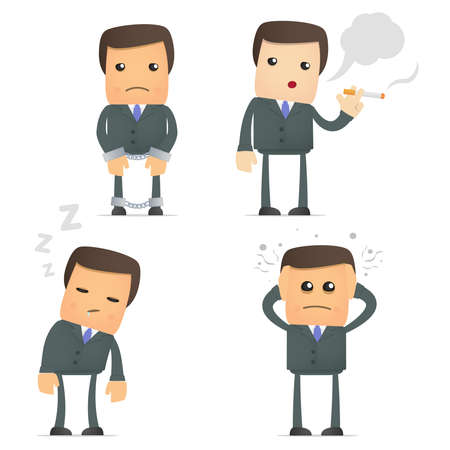 snooze: funny cartoon businessman in various poses