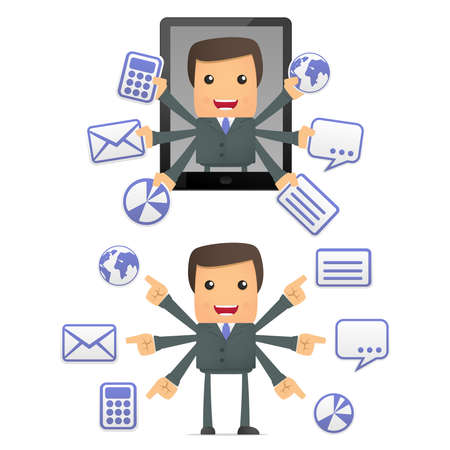 personal data assistant: funny cartoon businessman with a laptop