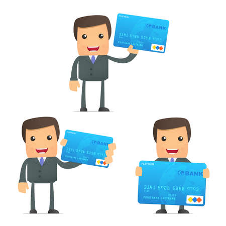 credit card purchase: funny cartoon businessman with credit card