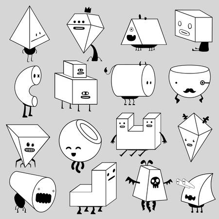 basic shapes: funny monsters