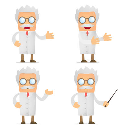 funny cartoon scientist giving presentation Illustration