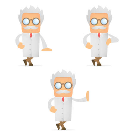 lab coats: cartoon scientist leaning on an empty block