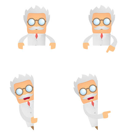 funny scientist looks out over an empty field Stock Vector - 10493560