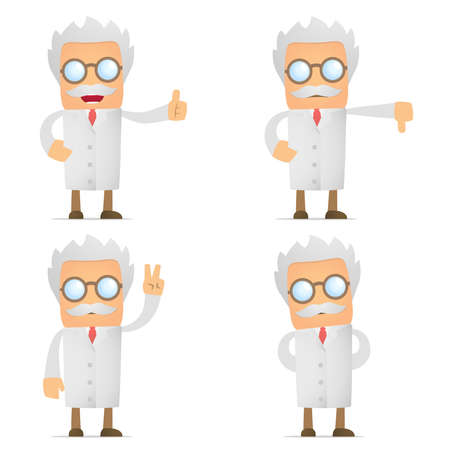 opinions: funny cartoon scientist hold thumb up and down