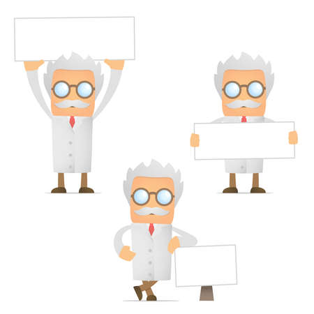 old document: funny cartoon scientist with blank banner