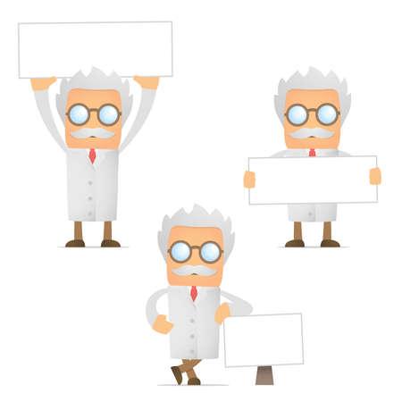 scientist man: funny cartoon scientist with blank banner