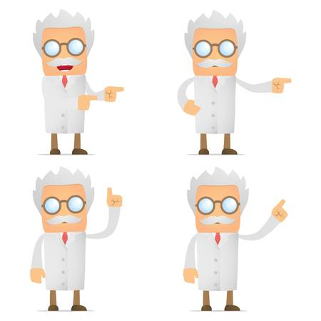 lab coats: funny scientist shows his finger to the side
