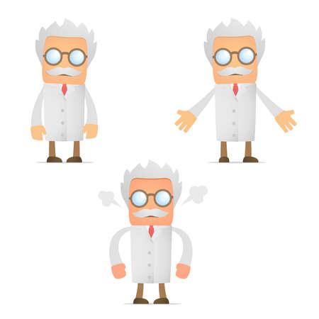 hombre solo: cient�fico de divertidos dibujos animados enojado y frustrado