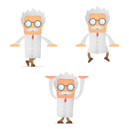 cartoon scientist leaning on an empty block Vector