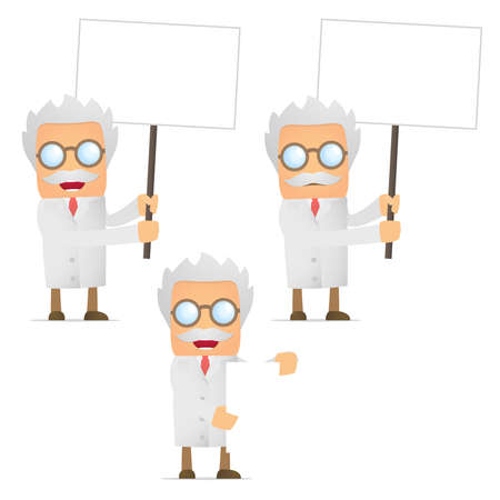 funny cartoon scientist holds a banner Vector
