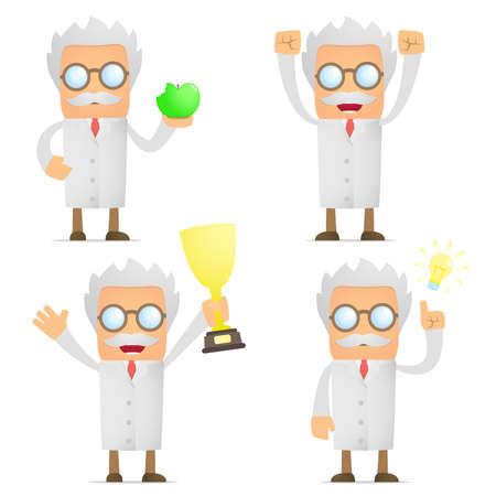 funny cartoon scientist celebrates victory