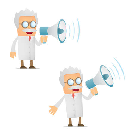 lab coats: funny cartoon scientist with a megaphone