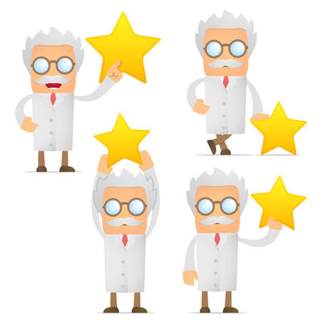 funny cartoon scientist holding a favorite star Stock Vector - 10493576