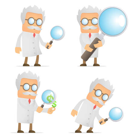 investigating: funny cartoon scientist with magnifying glass