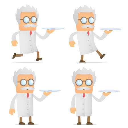 scientist with a tray Vector