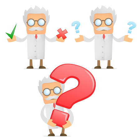 scientist in lab: funny cartoon scientist with a question mark
