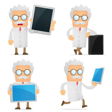 doctor tablet: funny cartoon scientist with a laptop