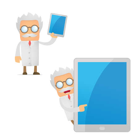 funny cartoon scientist with a laptop Vector
